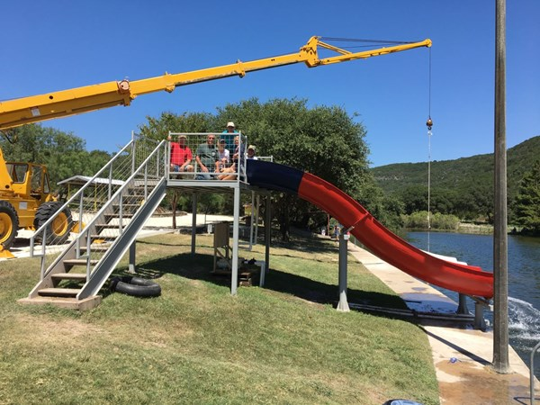 Our new slide is near the lake area by the main cabins.